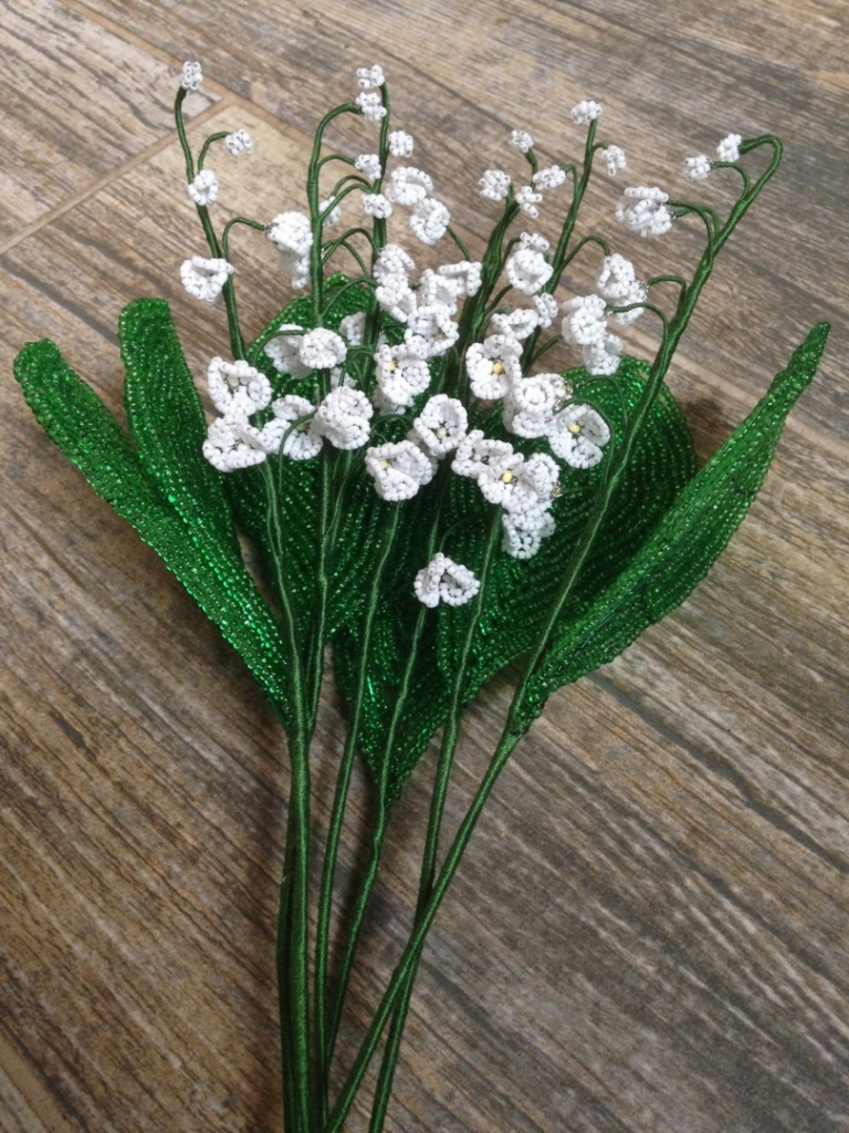 Lilies of the valley made of beads alexey agalakov description izmirmasajfo